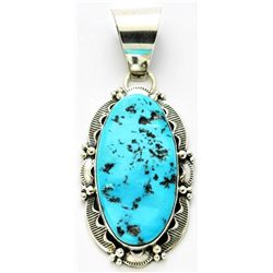 Navajo Sleeping Beauty Turquoise Medium Sterling Silver Pendant - Mary Ann Spencer