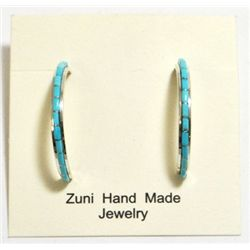 Zuni Turquoise Half-Ring Sterling Silver Post Earrings