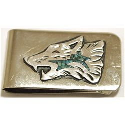 Navajo Turquoise Sterling Silver Wolf Head Money Clip - Richard Singer