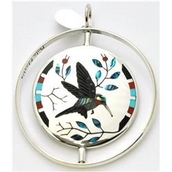 Zuni Multi-Stone Spinner Bird and Flower Pendant - Dale Edaakie