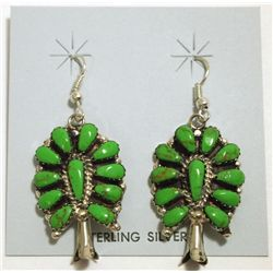 Navajo Green Turquoise Sterling Silver Squash Blossom French Hook Earrings - Lisa Williams