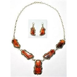 Navajo Spiny Oyster Necklace & Earrings Set - Mary Ann Spencer