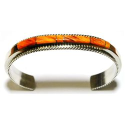 Navajo Spiny Oyster Inlay Sterling Silver Cuff Bracelet - Fran Yazzie