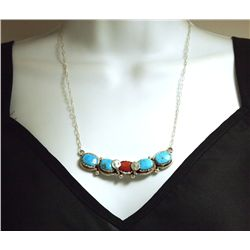 Zuni Coral & Turquoise Sterling Silver Snakes Necklace - Effie Calavaza