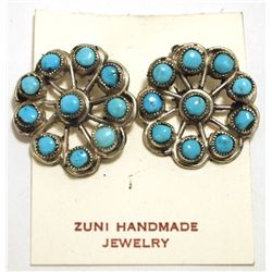 Zuni Turquoise Sterling Silver Clip-On Earrings - Smith Cachini