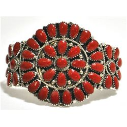 Navajo Coral Cluster Sterling Silver Cuff Bracelet - Juliana Williams