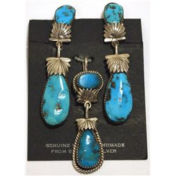 Old Pawn Zuni Sleeping Beauty Turquoise Sterling Silver Earrings & Pendant Set - Robert & Bernice Le