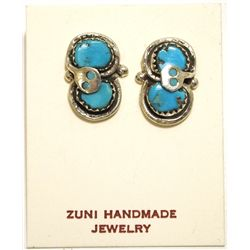 Zuni Turquoise Sterling Silver Snake Post Earrings - Effie Calavaza