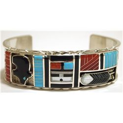 Zuni Multi-Stone Inlay Bear & Sun Face Sterling Silver Cuff Bracelet - Don Dewa