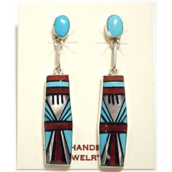 Zuni Multi-Stone Inlay Sterling Silver Post Earrings - Phyllis Lucio