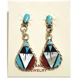 Zuni Multi-Stone Inlay Sterling Silver Post Earrings - Carol Niiha
