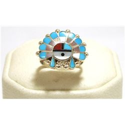 Zuni Multi-Stone Inlay Sun Face Sterling Silver Women's Ring - Emma Romancito