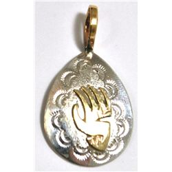 Navajo 12k Gold Filled Bear Paw Sterling Silver Pendant - Roger Jones