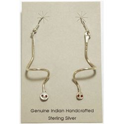 Zuni Sterling Silver Snake with Coral Eyes French Hook Earrings - Effie Calavaza