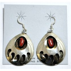 Navajo Coral Bear Paw Sterling Silver French Hook Earrings - Joey McCray
