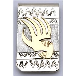 Navajo 12k Gold Fill Over Sterling Silver Bear Paw Money Clip - Roger Jones