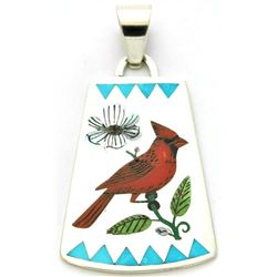 Zuni Multi-Stone Bird Design A Pendant - Rudell & Nancy Laconsello