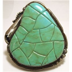 Vintage Old Pawn Navajo King's Manassa Turquoise Sterling Silver LARGE Cuff Bracelet