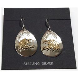 Navajo 12k Gold Fill over Sterling Silver Eagle Head French Hook Earrings - Roger Jones