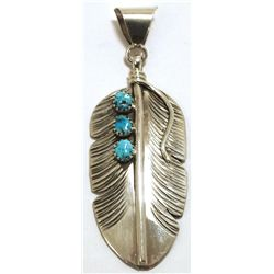 Navajo Turquoise Sterling Silver Feather Pendant - Vivan Jones