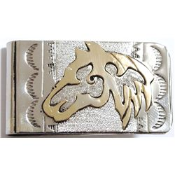 Navajo 12k Gold Fill over Sterling Silver Horse Head Money Clip - Roger Jones