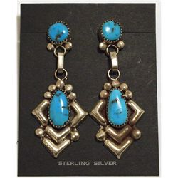 Old Pawn Navajo Sleeping Beauty Turquoise Sterling Silver Earrings - Julie O. Lahi