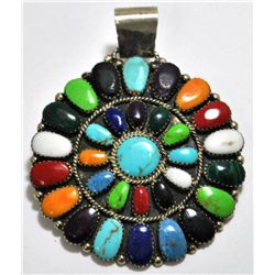 Navajo Multi-Stone Cluster Sterling Silver Pendant - Juliana Williams