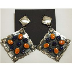 Navajo Orange Spiny Oyster & Lapis Lazuli Sterling Silver Earrings - Albert J Brown
