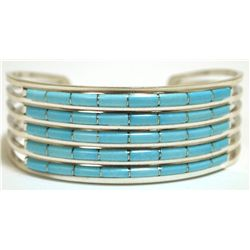 Zuni Turquoise Channel Inlay Sterling Silver Cuff Bracelet - Anselm Wallace