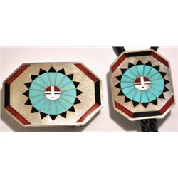 Zuni Multi-Stone Inlay Sunface Sterling Silver Bolo Tie & Buckle Set - Fred & Lolita Natachu