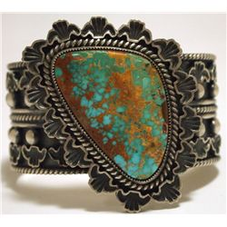 Old Pawn Navajo Mountain Turquoise Sterling Silver Cuff Bracelet - Randy Boyd