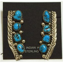 Navajo Turquoise Sterling Silver Post Earrings - Darlene Begay