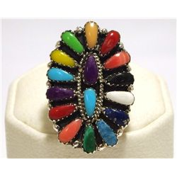 Navajo Multi-Stone Cluster Sterling Silver Women's Ring - Juliana Williams