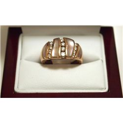 Dead Pawn Non-Native Mother of Pearl & Diamond 14k Gold Women's Ring - Kabana