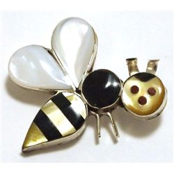 Zuni Multi-Stone Inlay Bumble Bee Sterling Silver Pendant & Pin - Angus Ahiyite