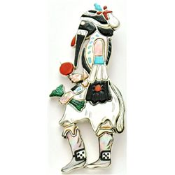 Zuni Multi-Stone Ball Eye Kachina Pendant & Pin - Andrea Shirley