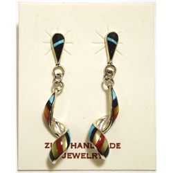 Zuni Multi-Stone Inlay Sterling Silver Spiraling Post Earrings - Idella Edaakie