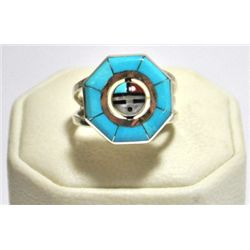 Zuni Multi-Stone Sun Face Spinner Men's Ring - Don Dewa