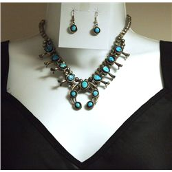 Navajo Turquoise Sterling Silver Squash Blossom Necklace & Earrings Set - Phil & Lenore Garcia