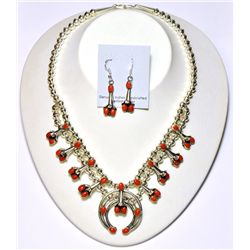 Navajo Coral Squash Blossom Necklace & Earrings Set - Phil & Lenore Garcia