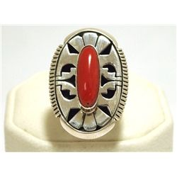 Navajo Coral Sterling Silver Women's Ring - Eugene Belone