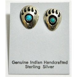 Navajo Turquoise Bear Paw Sterling Silver Post Earrings - Joey McCray