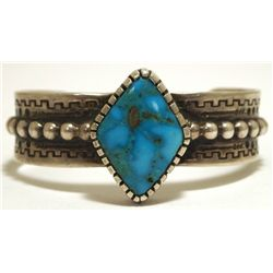 Old Pawn Navajo Stormy Mountain Turquoise Sterling Silver Small Cuff Bracelet - Bruce Hayles