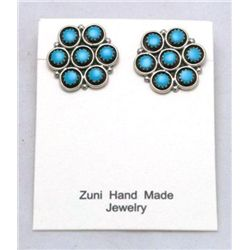 Zuni Turquoise Dotted Flower Earrings