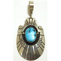 Navajo Sleeping Beauty Turquoise Sterling Silver Pendant - Tommy Singer