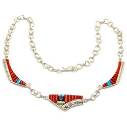Navajo Coral Sun Face Sterling Silver Necklace - Wilbert Manning