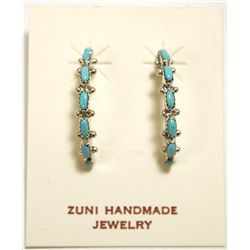 Zuni Turquoise Sterling Silver Half-Ring Post Earrings - Tomasita Lasarille