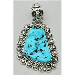 Navajo Sleeping Beauty Turquoise Large Sterling Silver Pendant - Mary Ann Spencer