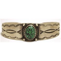Old Pawn Navajo Spider Web Turquoise Sterling Silver Cuff Bracelet - Calvin Martinez