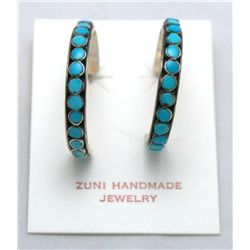 Zuni Turquoise Dotted Onyx 3/4 Ring Earrings